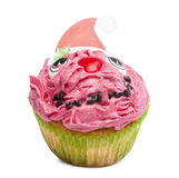 Christmas cupcake on white background Stock Photo