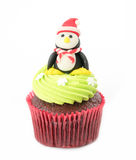 Christmas of cupcake on the white. Background stock images