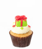 Christmas cupcake on the white. Background royalty free stock image