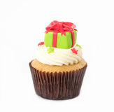 Christmas of cupcake on the white. Background stock photography
