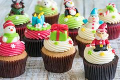 Christmas of cupcake on the wooden. Stock Image