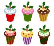 Christmas cupcakes. Set of six colorful Christmas cupcakes. Vector illustration Stock Photos