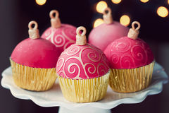 Christmas cupcakes. Christmas bauble cupcakes on a cakestand Stock Photo