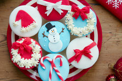 Christmas cupcakes. Cupcakes decorated with a Christmas theme Royalty Free Stock Photos