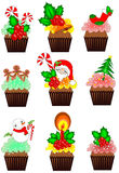 Christmas cupcakes collections Royalty Free Stock Images