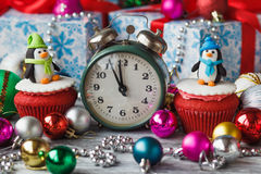 Christmas cupcakes with colored decorations Royalty Free Stock Images