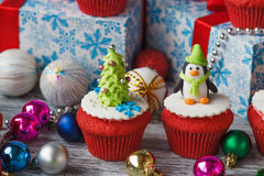 Christmas cupcakes with colored decorations Royalty Free Stock Image