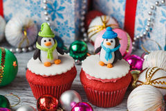 Christmas cupcakes with colored decorations Stock Photo