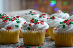 Christmas Cupcakes with Colorful Holiday Lights Royalty Free Stock Photography