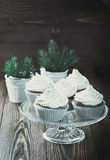 Christmas cupcakes with cream cheese frosting Stock Photography