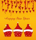 Christmas cupcakes with cream in the form of a Santa Claus hat. Garland with flags and confetti. Greeting card or invitation for the New Year holiday. Vector royalty free illustration