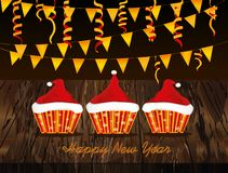 Christmas cupcakes with cream in the form of a Santa Claus hat. Garland with flags and confetti. Greeting card or invitation for the New Year holiday. Vector vector illustration