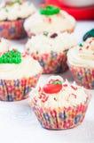 Christmas cupcakes. Christmas decorated cupcakes on a plate Stock Photos