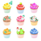 Christmas cupcakes. Set of festive Christmas cupcakes with different decorations Royalty Free Stock Photo