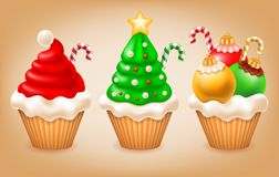 Christmas cupcakes set. Sweet Christmas and New Year. Various tasty cupcakes as Santa hat, Christmas tree and Christmas balls. Creative elements for your design Royalty Free Stock Images