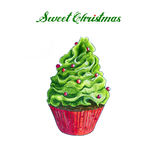 Christmas Cupcakes sketch on white. Christmas green Cupcake Hand Drawn sketch. Isolated on white Royalty Free Stock Photography