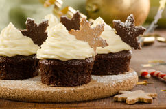 Christmas cupcakes with snow flake cookies on top, textile backg Stock Images