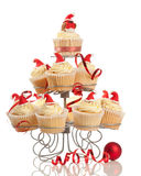 Christmas Cupcakes On Stand Royalty Free Stock Photography