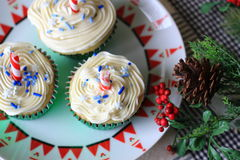 Christmas cupcakes. With white frosting Stock Image