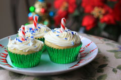 Christmas cupcakes. With white frosting Royalty Free Stock Image
