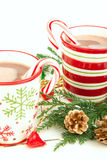 Christmas cups with Hot cocoa Stock Image
