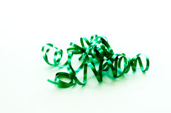 Green curling ribbon isolated on white Stock Images