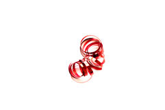 Red curling ribbon isolated on white Royalty Free Stock Images