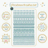 Christmas custom made brushes and line Holiday tags set. Christmas green custom made brushes and golden line Holiday tags set Royalty Free Stock Image