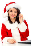 Christmas customer services girl Royalty Free Stock Photography