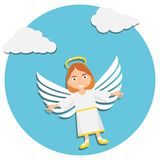 Christmas cute angel. Christmas baby angel. Illustration of Young Angel In White Praying stock illustration