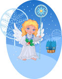 Christmas cute angel with star staff. Against winter landscape Stock Photos