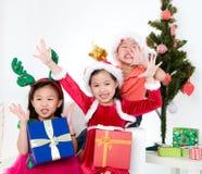 Christmas. Cute asian kids celebrating christmas Royalty Free Stock Photo