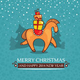 Christmas cute baby card with horse and gifts. Vector illustration Vector Illustration