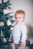 Christmas cute boy Stock Photos