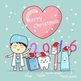 Christmas and cute cartoon dentist Stock Photos