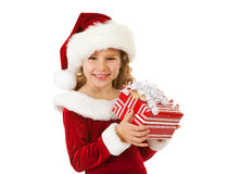 Christmas: Cute Christmas Girl With Present Royalty Free Stock Image