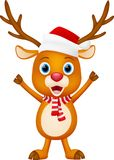 Christmas Cute deer cartoon standing Royalty Free Stock Photography