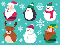 Christmas Cute Flat Characters Set Royalty Free Stock Photos