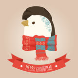 Christmas cute forest penguin head logo. Vector modern fashionable hipster penguin animal in clothes. Stock Image