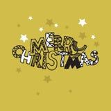 Christmas Cute inscription Merry Christmas with stars. Invitati. On, card stock illustration