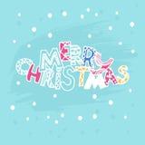 Christmas Cute inscription Merry Christmas with stars. Vector. Illustration. Invitation, card royalty free illustration