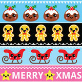 Christmas cute Kawaii seamless pattern with happy characters Stock Photography