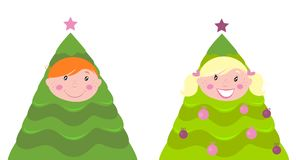 Christmas cute kid tree costume ( boy and girl ) Royalty Free Stock Image