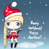 Christmas Cute little cartoon girl. Happy New Year card. Character design. Illustration royalty free illustration