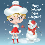 Christmas Cute little cartoon girl with snowman. Happy New Year card. Character design  Royalty Free Stock Image