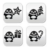 Christmas cute penguin vector buttons set Royalty Free Stock Images