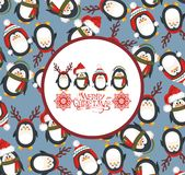 Christmas cute penguins Stock Photography