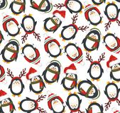 Christmas cute penguins. Christmas Background with funny penguins Stock Images