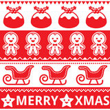 Christmas cute red seamless pattern, greetings card. Xmas repetitive pattern with Christmas puddings, gingerbread men, sleigh, and stars Royalty Free Stock Photography