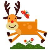 Christmas cute reindeer haracter vector New Year illustration of deer animal for sleigh Stock Image